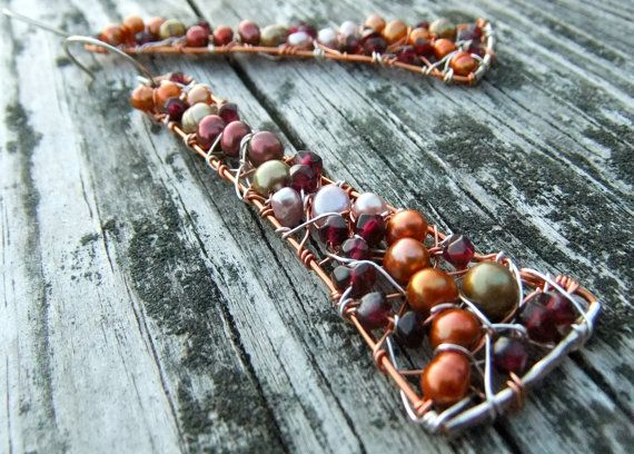 Pearls Garnet  Sterling Silver Copper Statement by catrocks, $145.00
