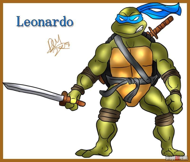 How to Draw Leonardo from Teenage Mutant Ninja Turtles, Step by ...