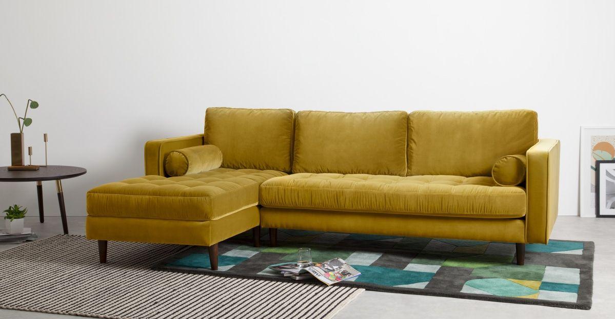 Scott Ecksofa Recamiere Links Samt In Gold En 2020 Sofa Dorado Sofas En Esquina Y Sofa Esquinero
