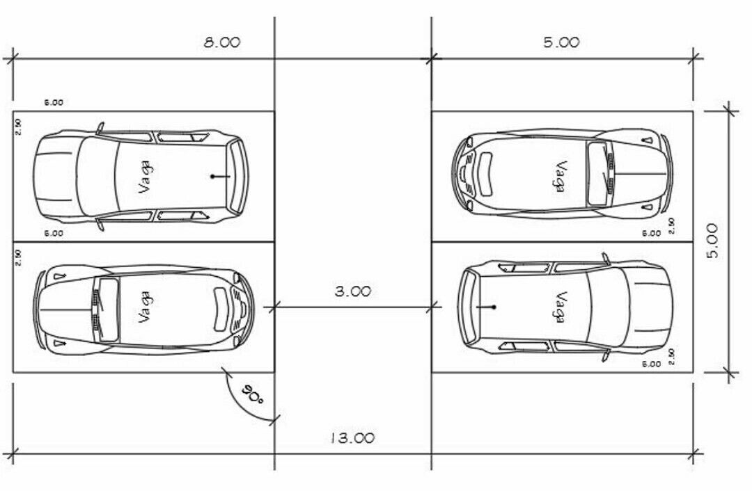 Dimens o de vaga car parking pinterest for Normas para planos arquitectonicos
