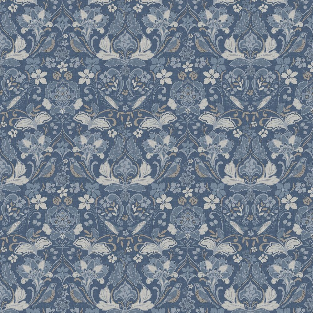 Arthouse Folk Floral Demin Blue Wallpaper SAMPLE 676002-S