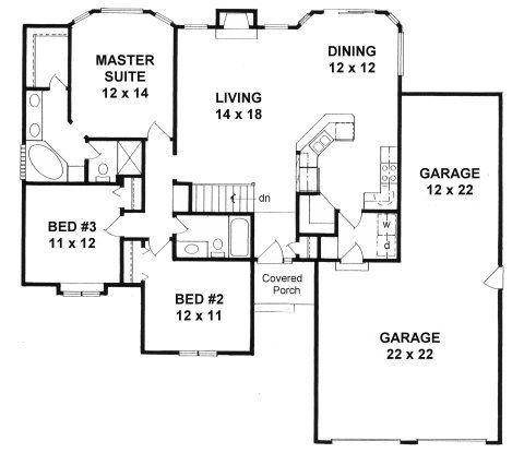 1449 sq ft 3rd garage bay can become studio for the Ranch house plans with basement 3 car garage