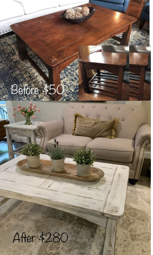 Pier One Coffee Table Makeover With Rustic White Chalk Paint
