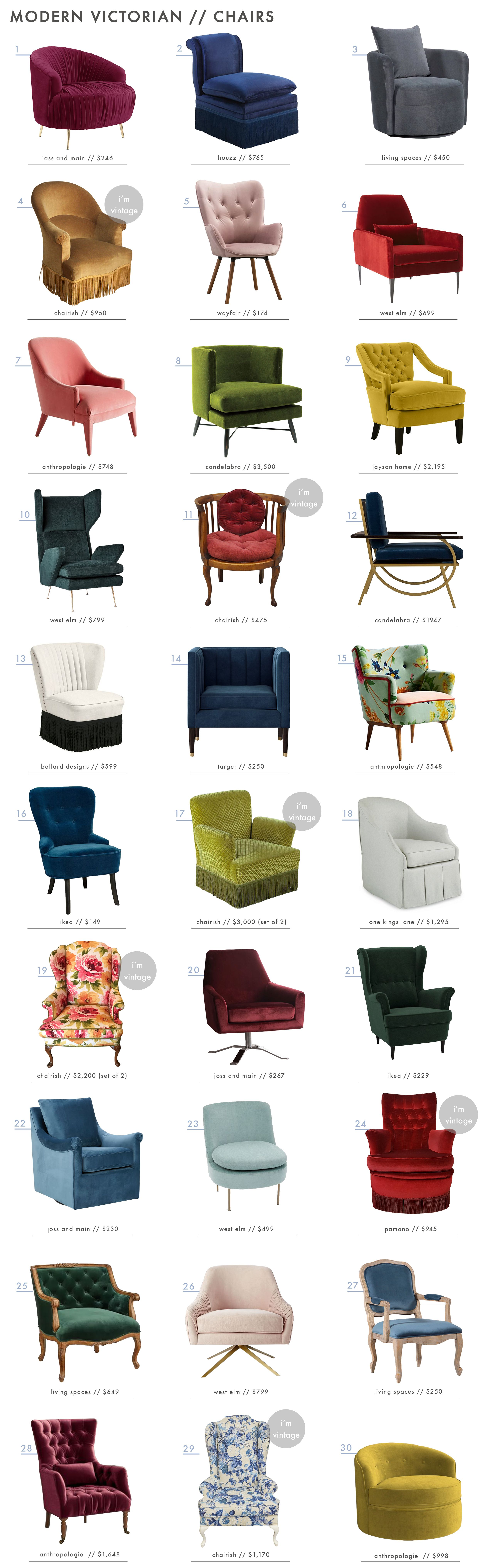 Emily Henderson Modern Victorian Trend Furniture Accent Chairs Roundup1