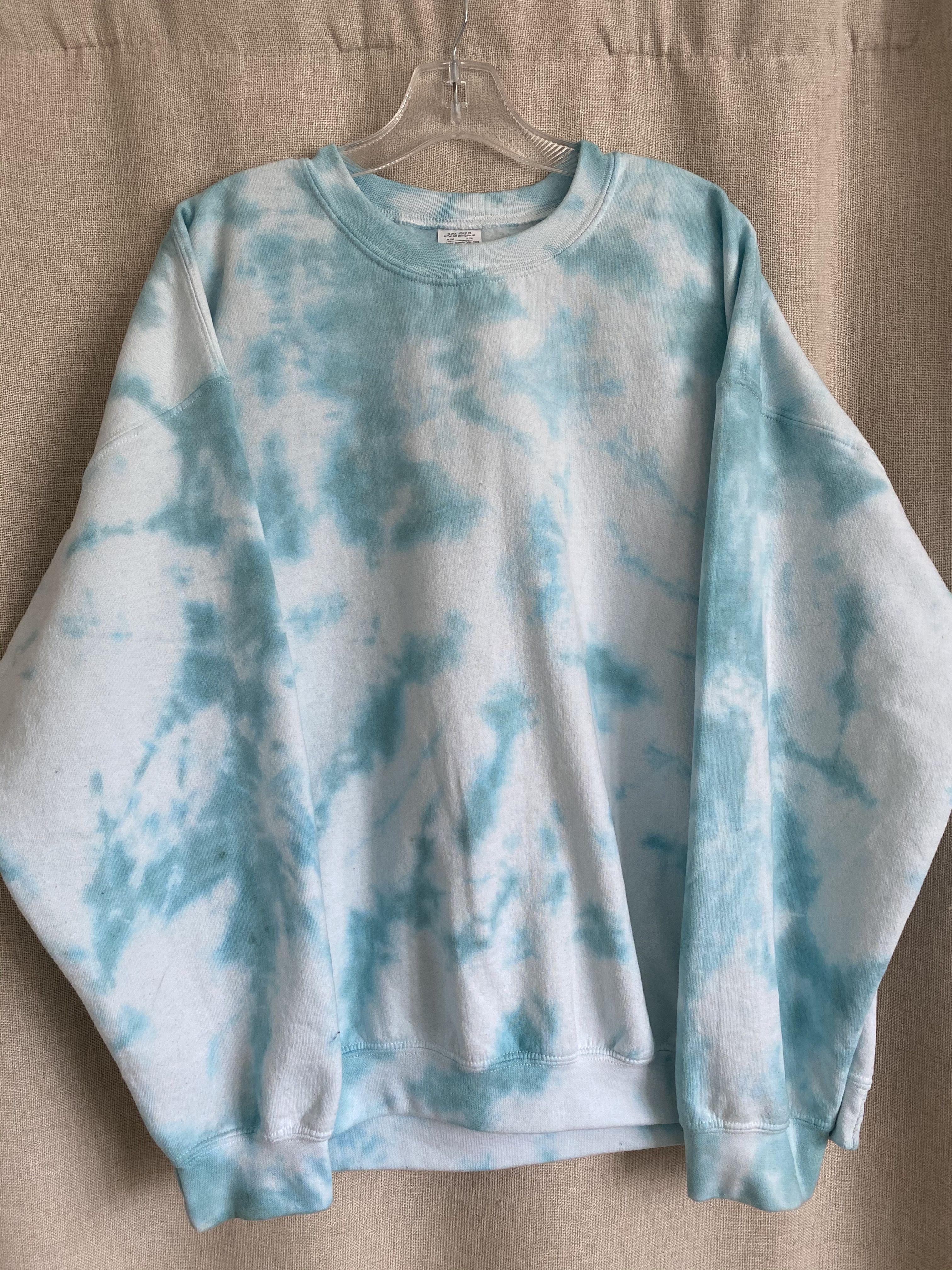 Oversized Vintage Tie Dye Crewneck Sweatshirts In Light Aqua Teal Blue Xl Tie Dye Outfits Tie Dye Tie Dye Crewneck Sweatshirts [ 4032 x 3024 Pixel ]