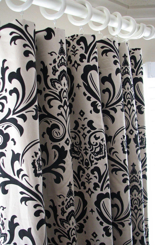 Pair Of Decorative Designer Custom Curtains Drapes 50 X 84 Black And  Natural Damask Contemporary Modern
