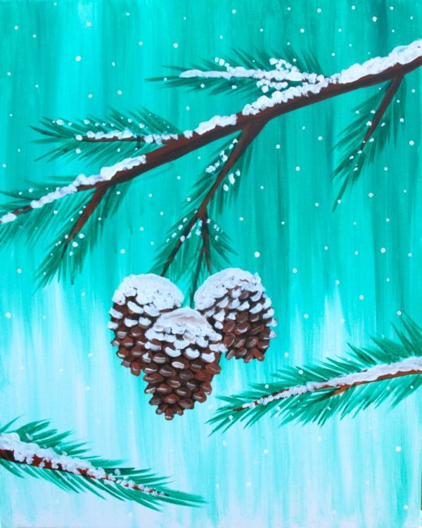 40 Simply Amazing Winter Painting Ideas - Her Canvas #easypaintings