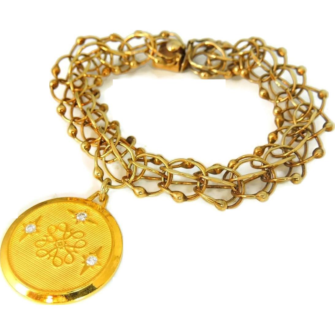 14k Gold Fancy Bracelet With 10k Big Charm General Electric Ge Diamond Charm Vintage Diamond Charm Charm Bracelet Link Bracelets