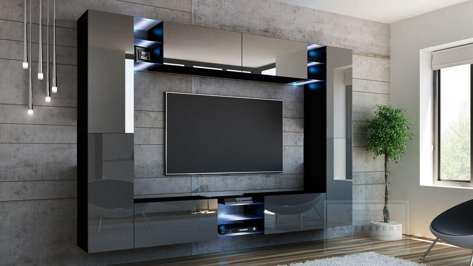 Wohnwand Kino Grau Hochglanz Schwarz Mediawand Medienwand Design Modern Led Beleuchtung Mdf Hochglanz Hangewand Hangeschrank Tv Wand In 2020 Wohnwand Wohnen Hochglanz