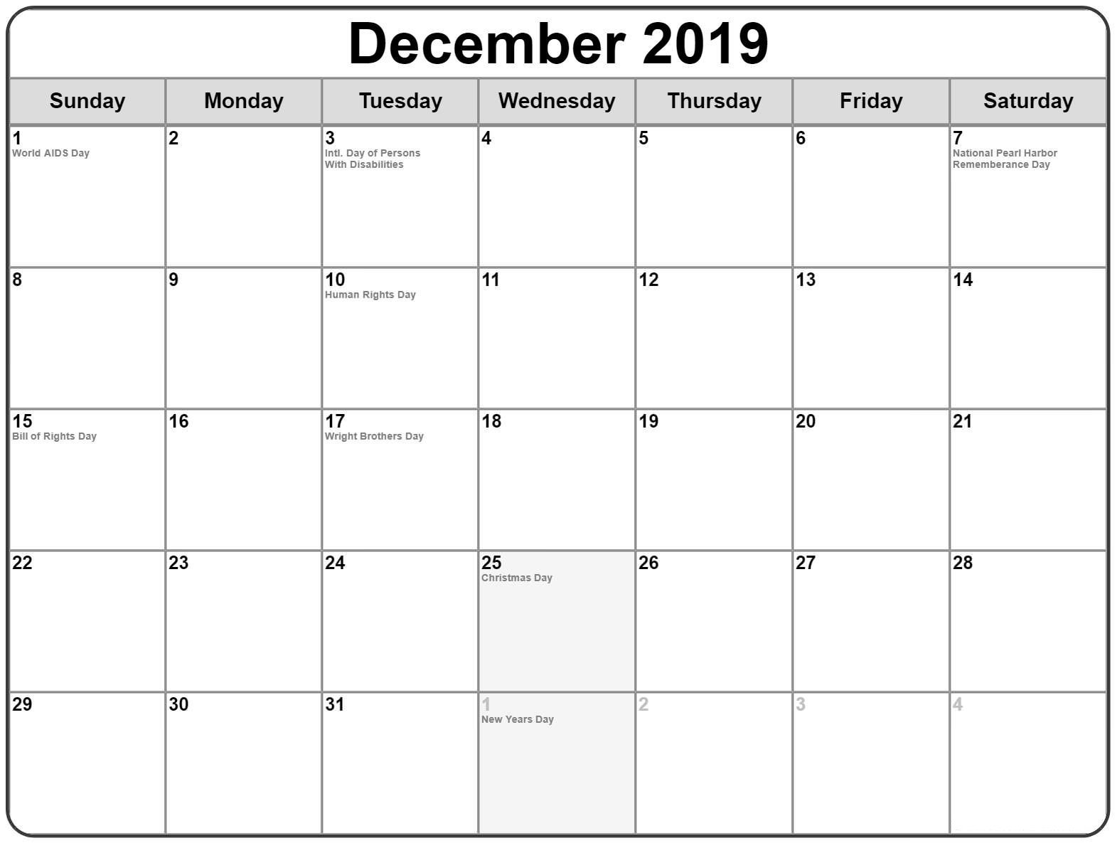 Printable December Holidays 2019 Calendar USA UK Canada 1 ...