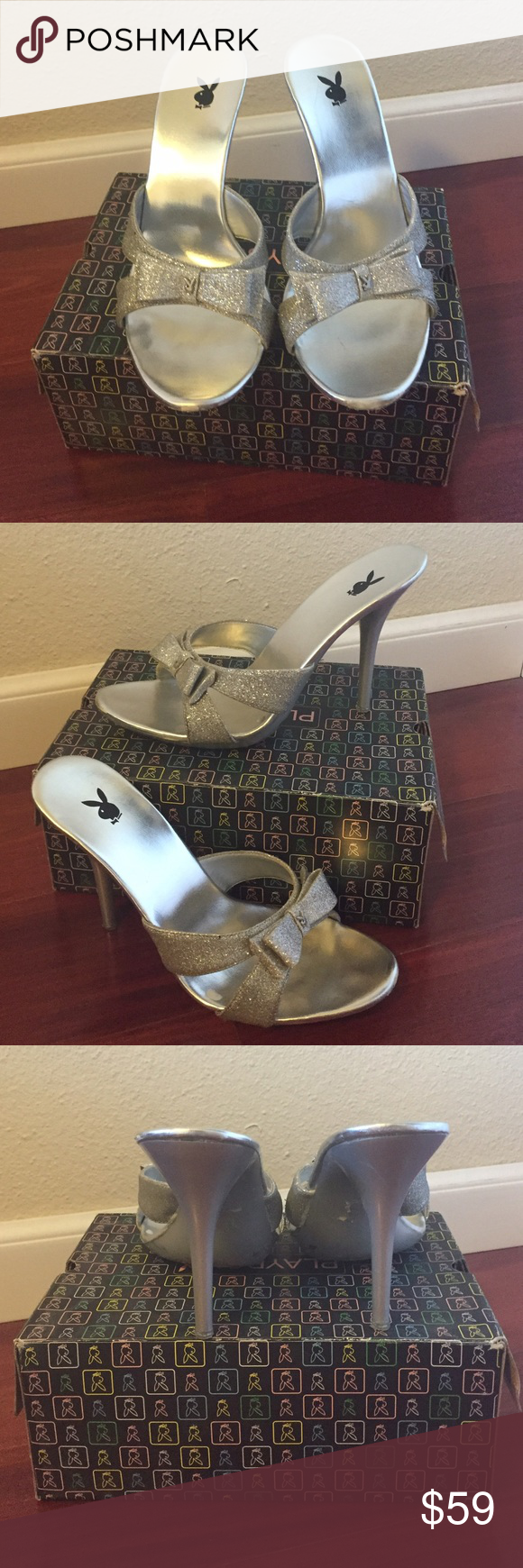 PLAYBOY Silver Glitter Bow High Slip-On Heels Silver glitter Playboy slide on heels. Bow detailing with tiny silver playboy bunny logo in the center. Preowned and worn plenty of times.  Size: 9 Style: Monroe. Color: Silver. PLAYBOY Shoes Heels