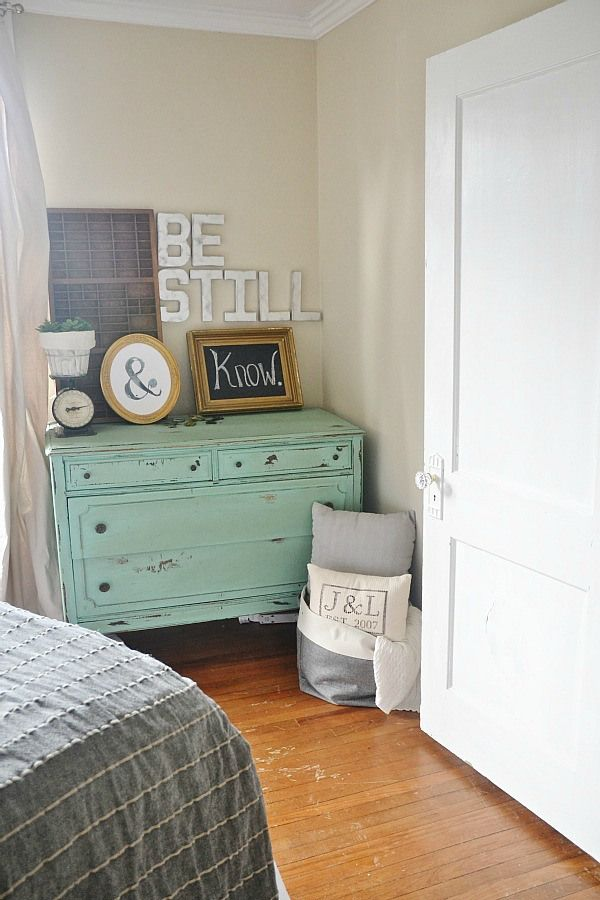 LMB Rental - Guest Bedroom June 2014 - Love the dresswe color! And the decor on top!