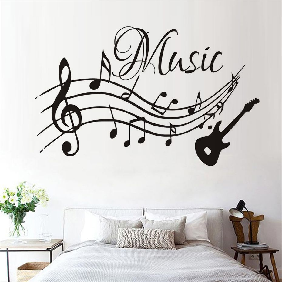 Self Adhesive Musical Notes Music Pvc Vinyl Wall Sticker Waterproof Wallpapers For Bathroom Guitar Music Wall Stickers Wall Stickers Home Decor Music Wall Art