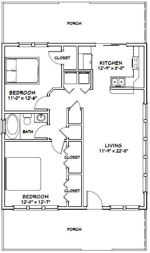 28x32 House 2 Bedroom 1 Bath 896 Sq Ft By Excellentfloorplans