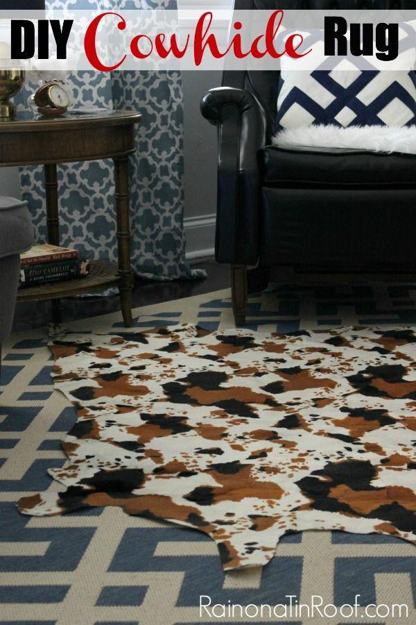 Faux Cowhide Rug Diy Using Faux Cowhide Fabric For Only 15 Cow Hide Rug Diy Flooring Diy Carpet