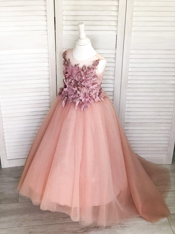 Flower Grils Dress Rose Petals 3D Floral Waist Dress Bridesmaid Corsage Dress