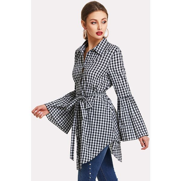 Ruffle Sleeve Self Belted Gingham Shirt Dress 1720 Rsd