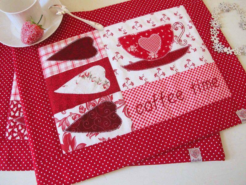 Platzsets - Tischset Platzset rot Deckchen  - ein Designerstück von HettyRosePatch bei DaWanda #tischsetnähen
