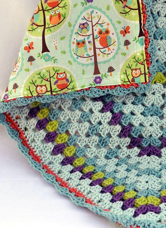 Owls and tree, nursery blanket, crochet baby blanket, granny square ...