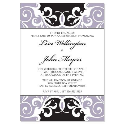 Black \ Gray Engagement Party Invitation Templates - Jordana - engagement invite templates