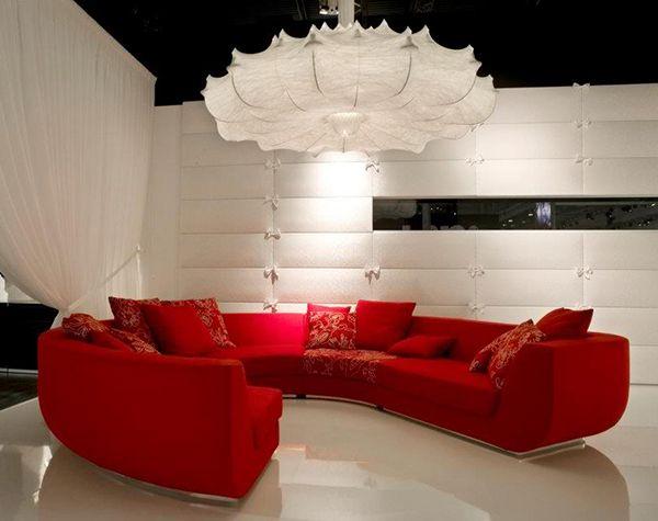 Rote Sofas Wohnzimmer Marcel Wanders Ecksofa Lampe