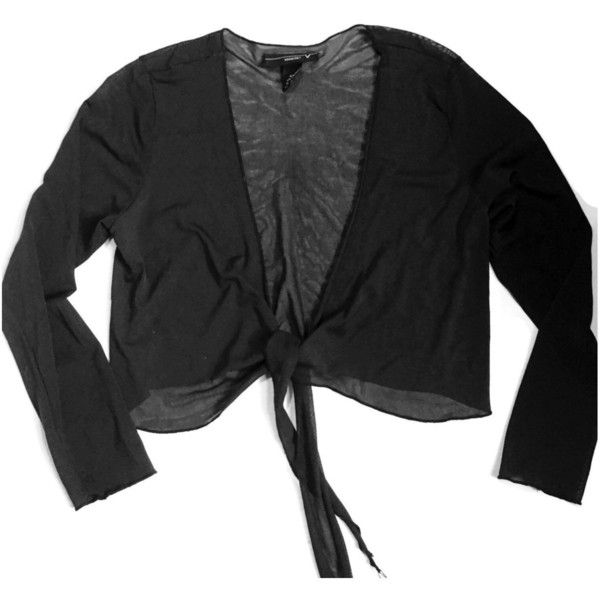 90's Black Sheer Crop Cardigan Tie Front (16.470 CRC) ❤ liked on ...