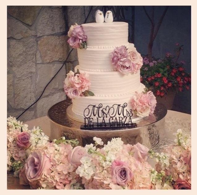 Lavender and Pink wedding cake. Custom Esty wedding cake sign. Custom Lovebird cake topper.