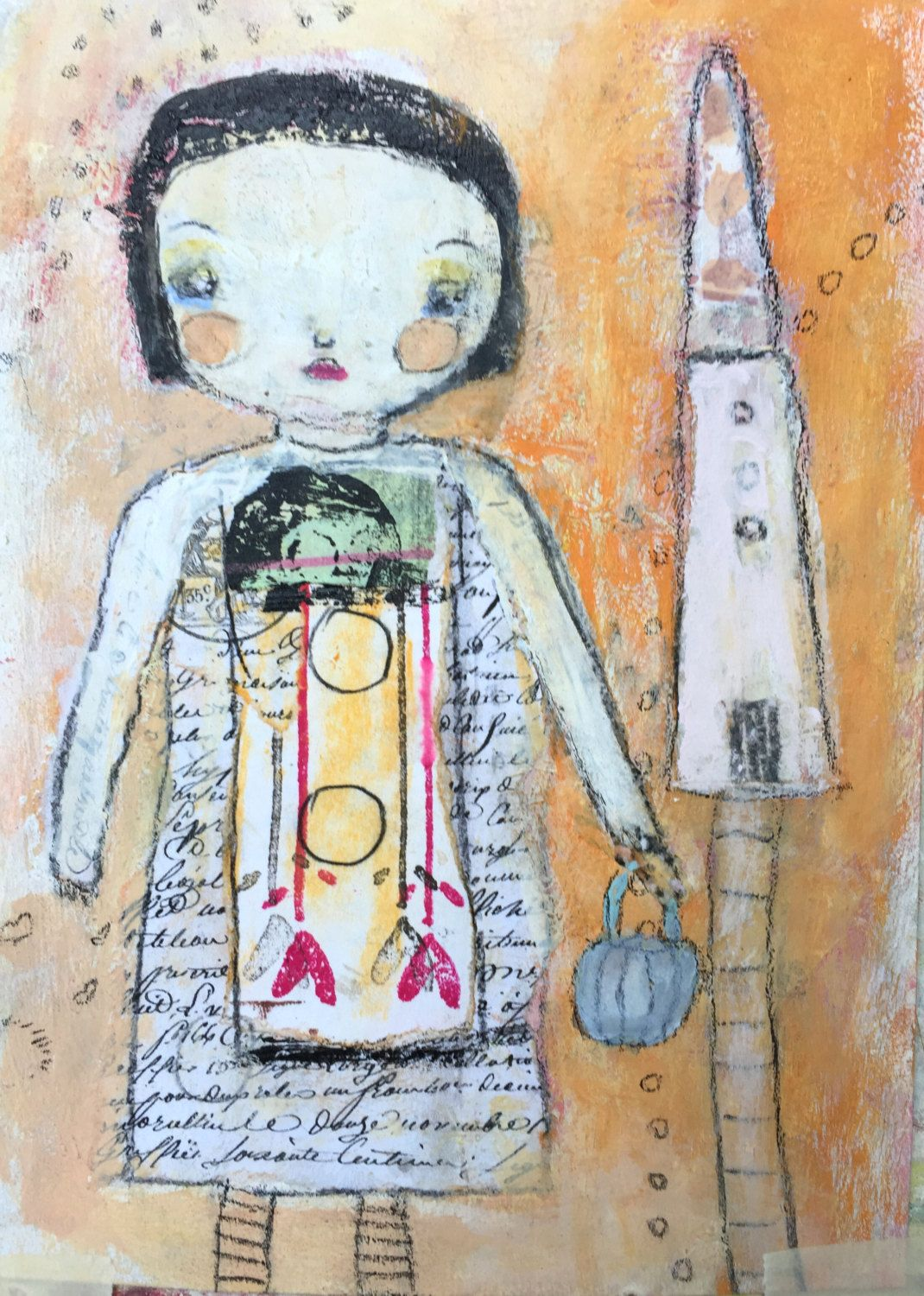 Naive Child Art - Outsider Art - Home Decor Art - Home Sweet Home - Whimsy Painting - Girls Nursery Art - Childish Painting by BumblesArtWorks on Etsy