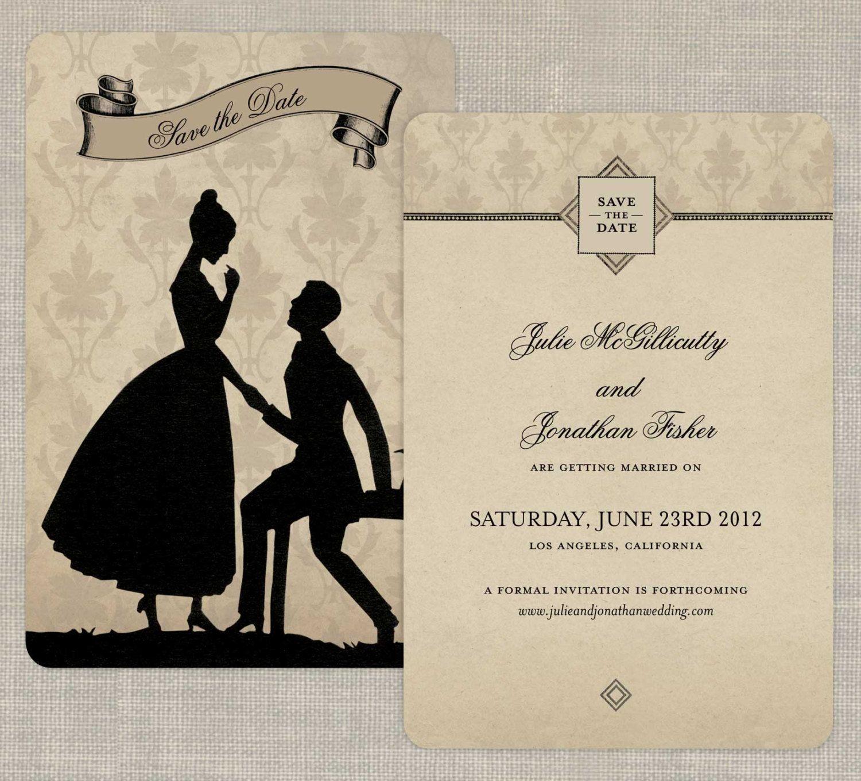 Victorian Save the Dates or Victorian Wedding Invitations - Pride ...