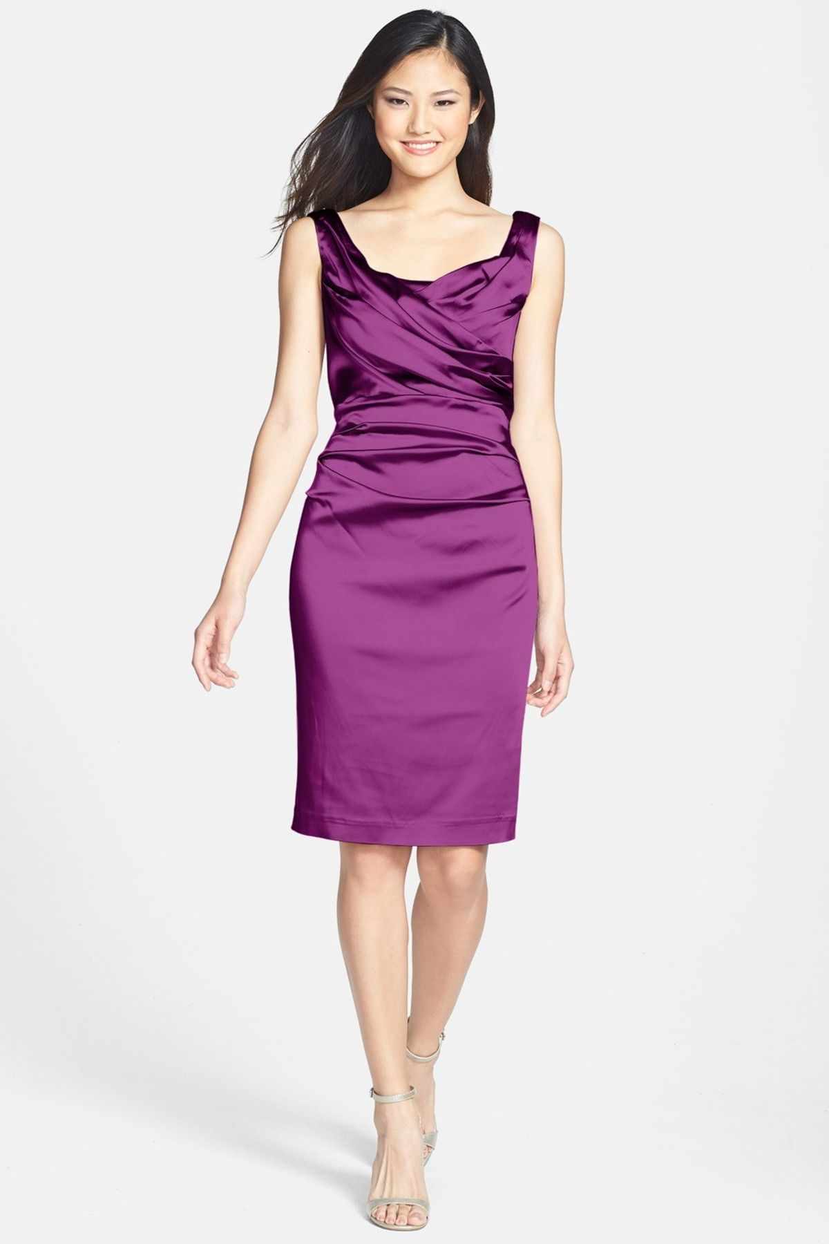 Ruched Stretch Satin Sheath Dress