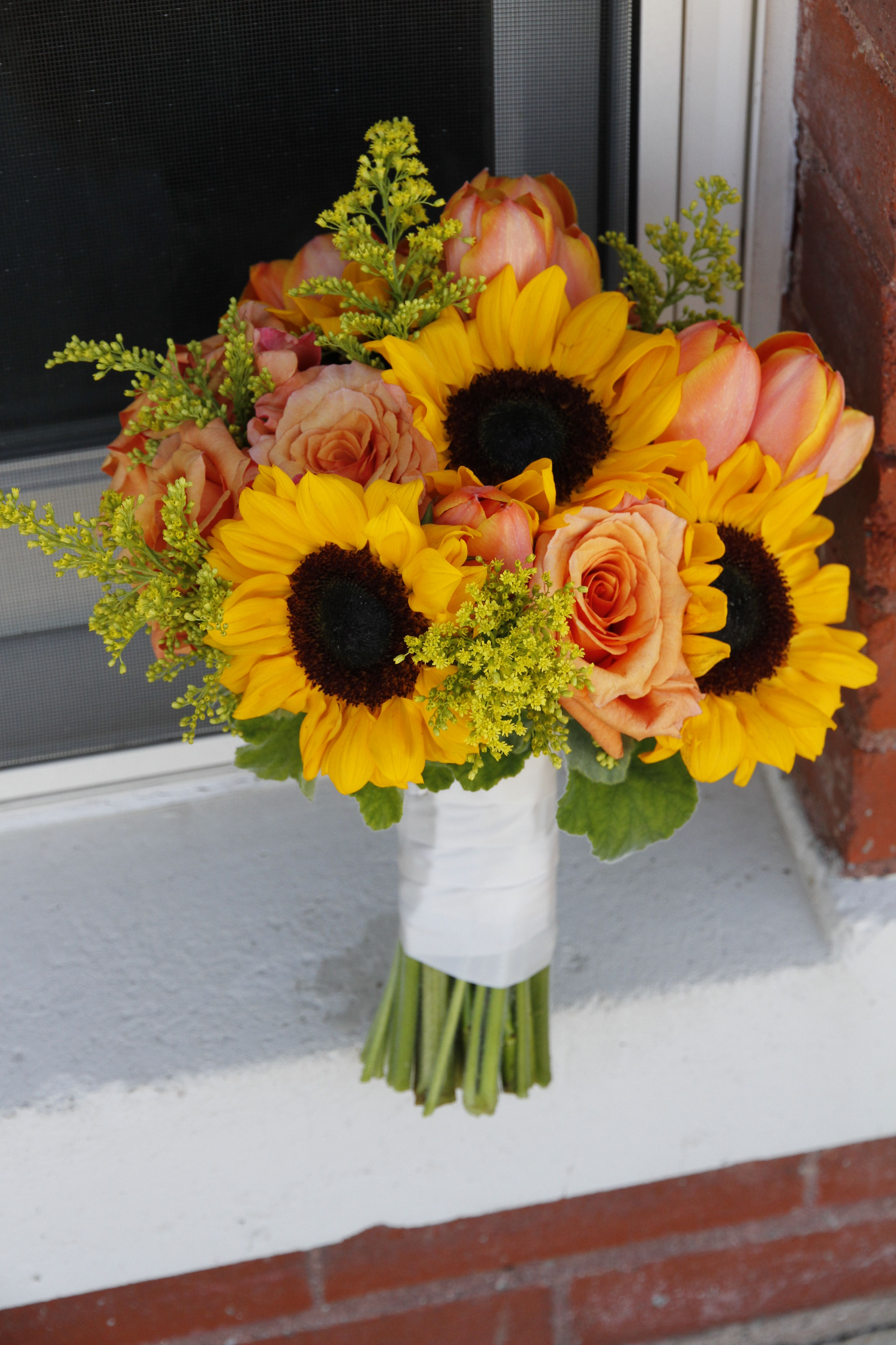 Pin By Antebellum Design Llc On Wedding Bouquets Wedding Flowers Tulips Peach Wedding Flowers Yellow Wedding Flowers