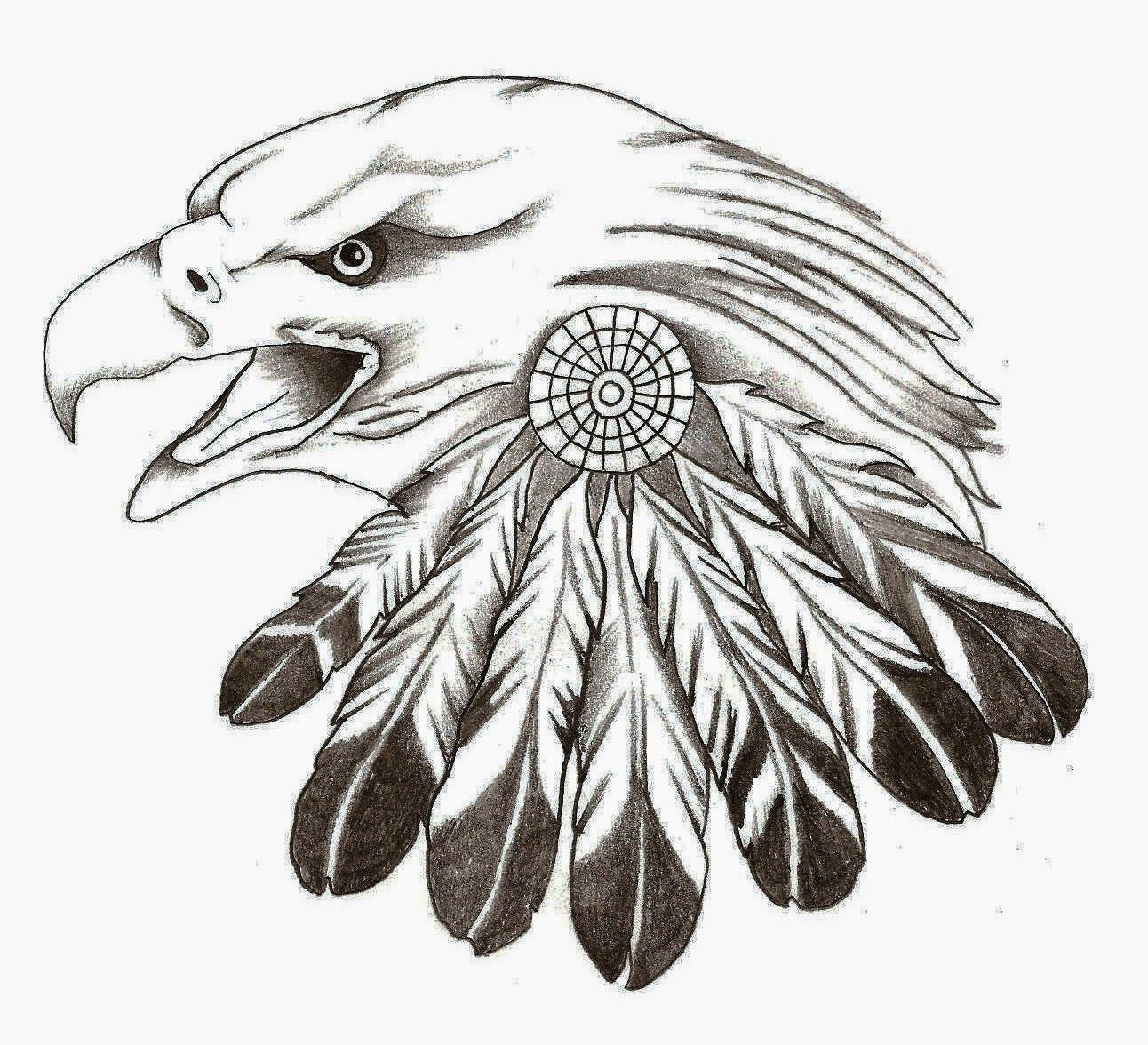 Eagle head with indian feather Eagle feather tattoos