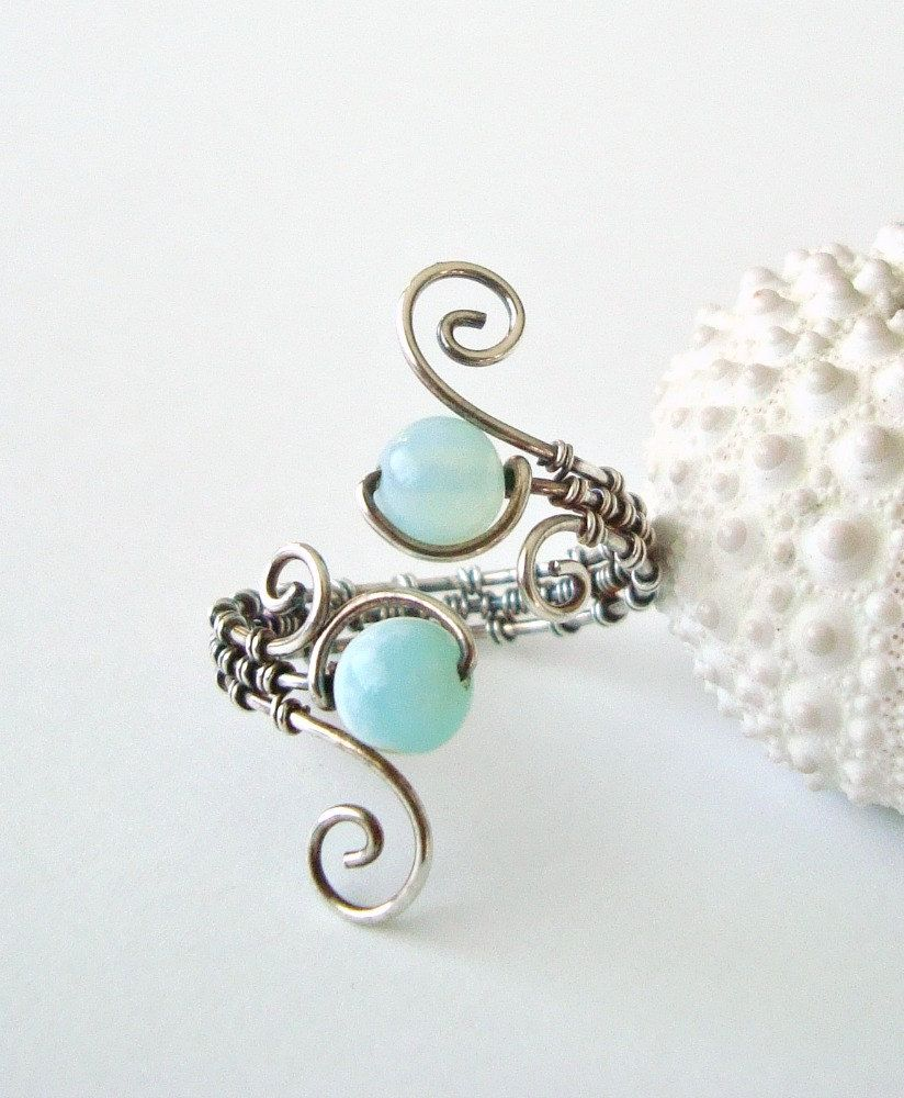 Peruvian Opal Wire Ring, Aqua Wire Wrapped Ring, Adjustable ...