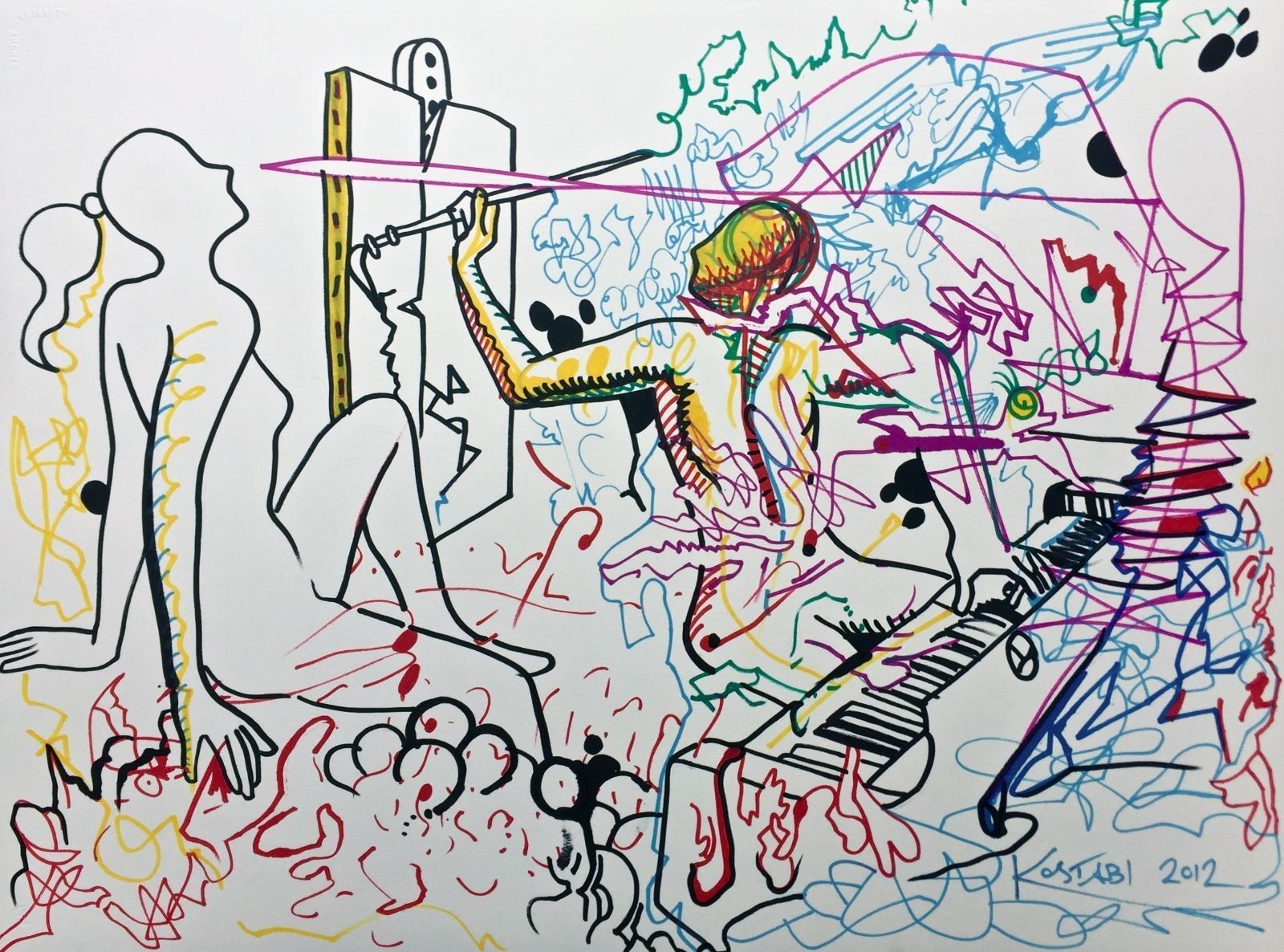Out Of Line Original Colored Ink Drawing Mark Kostabi Favorite