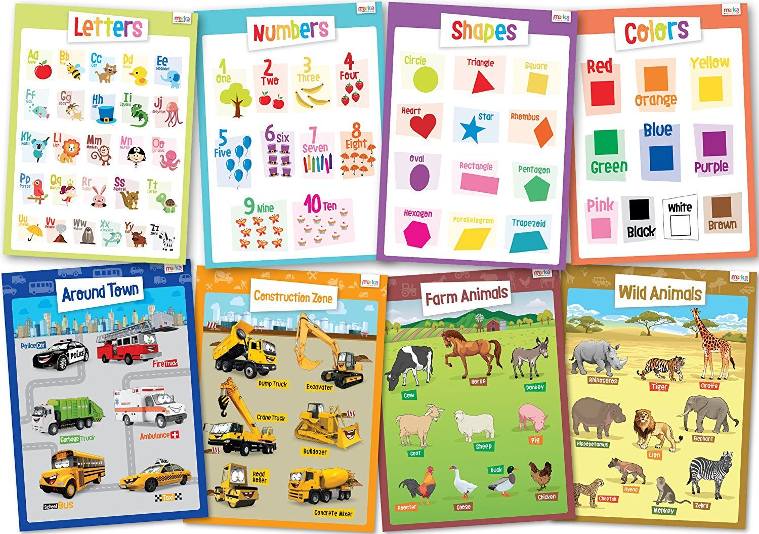 Amazon 8 Educational Posters For Toddlers