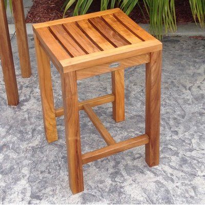 Santa Monica 24 Teak Patio Bar Stool Patio Bar Stools Outdoor