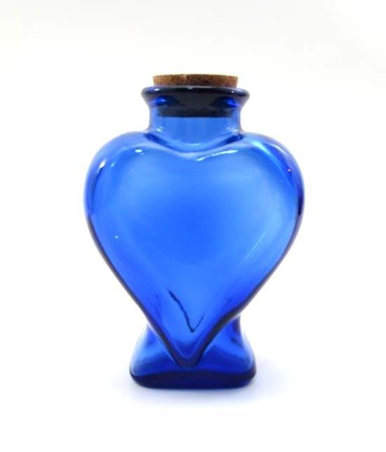 Cobalt Blue Glass Heart Shaped Bottle With Cork Stopper Products