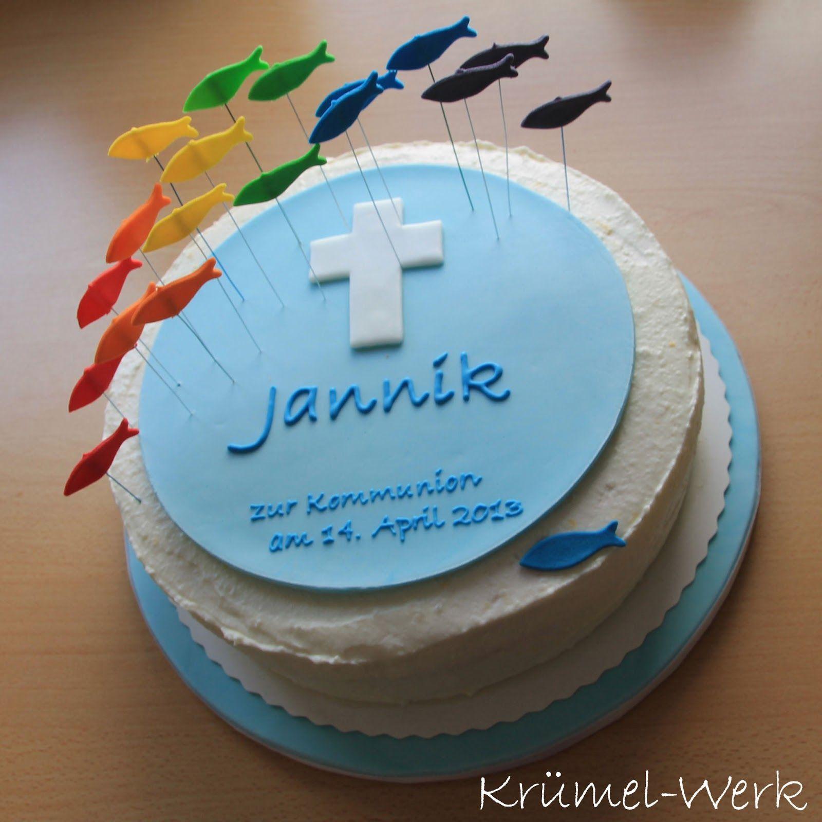 Krumel Werk Backen Einfach Schon Kommunion Kommunion Torte Geburtstag Kuchen Dekorieren