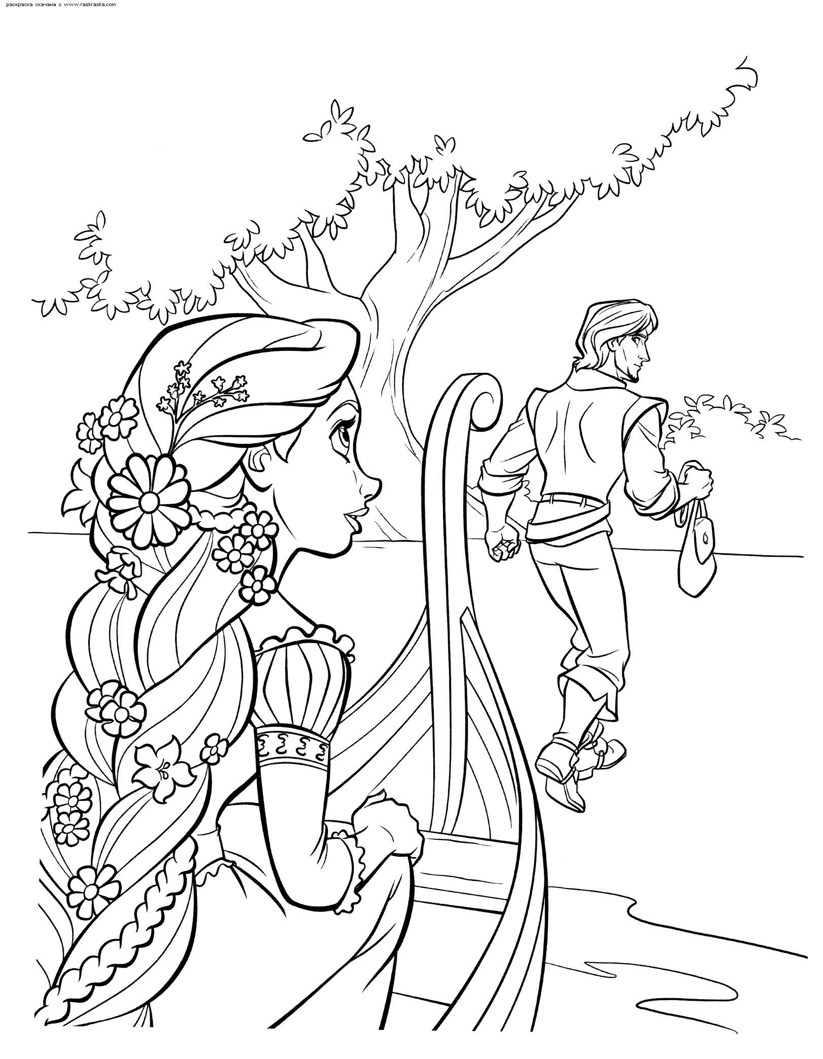 Rapunzel in frozen coloring pages