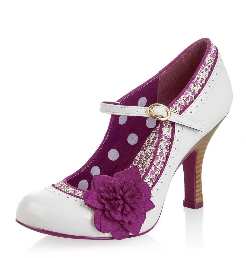 0c93278334b Ruby shoo poppy ivory white purple mary jane vintage high heel shoes sizes  3-9