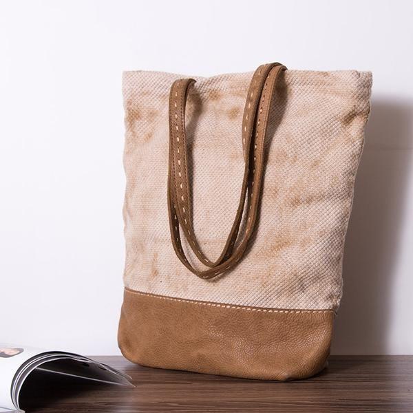 Women Retry Linen And Leather Handbag Shoulder Bag