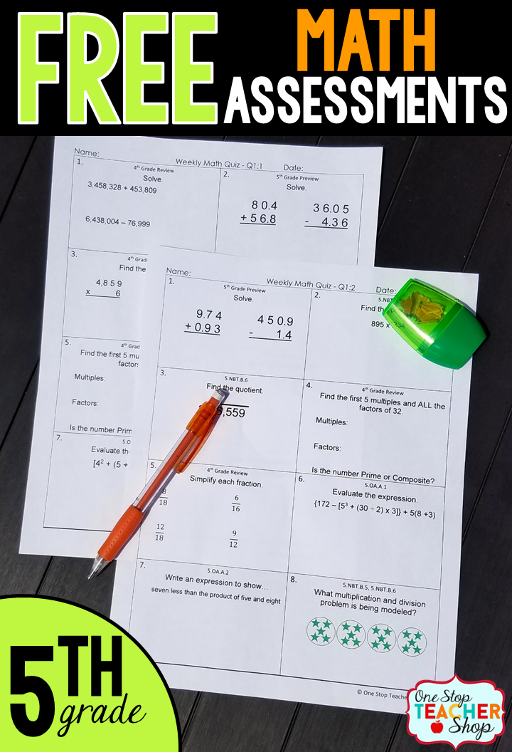 Fifth Grade Math Assessments - Quizzes - FREE | Math quizzes, Common ...
