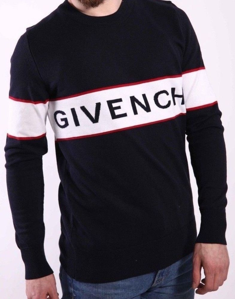 c5a53748 GIVENCHY SWEATER NAVY JUMPER CREW NECK LOGO ON STRIPES SIZE XL GENUINE WOOL  #fashion #clothing #shoes #accessories #mensclothing #sweaters (ebay link)