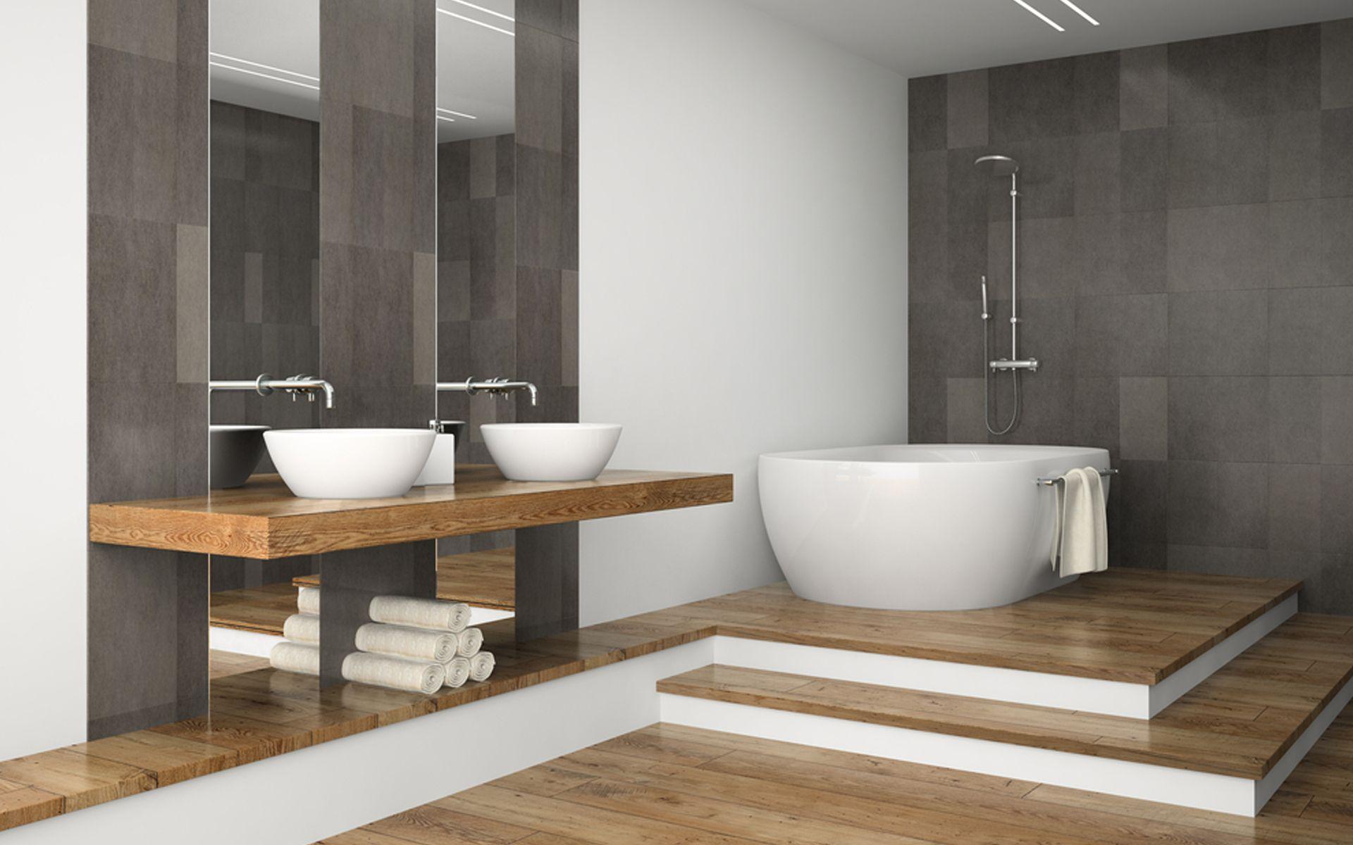 Combinatie van hout met wit en grijs en het opstapje naar bad