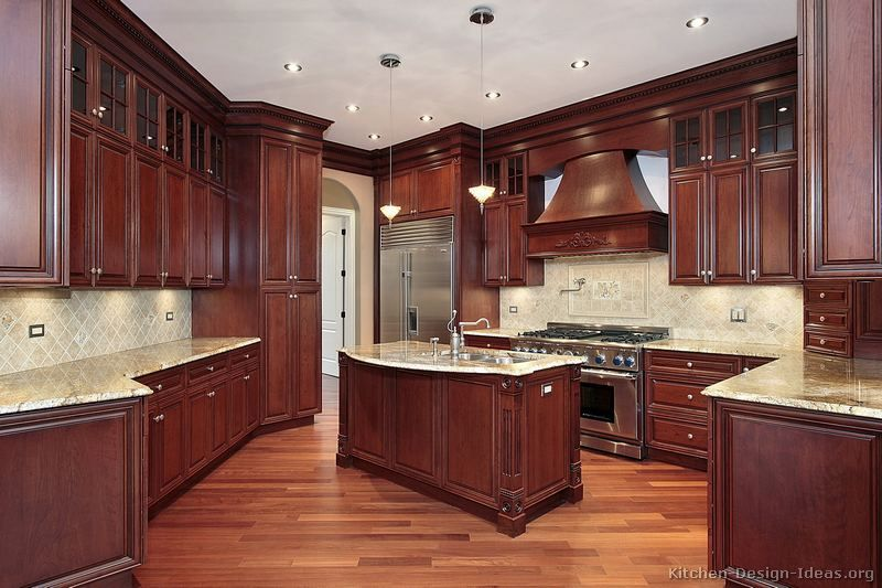 Traditional dark wood cherry kitchen cabinets style for Dark wood cabinets small kitchen
