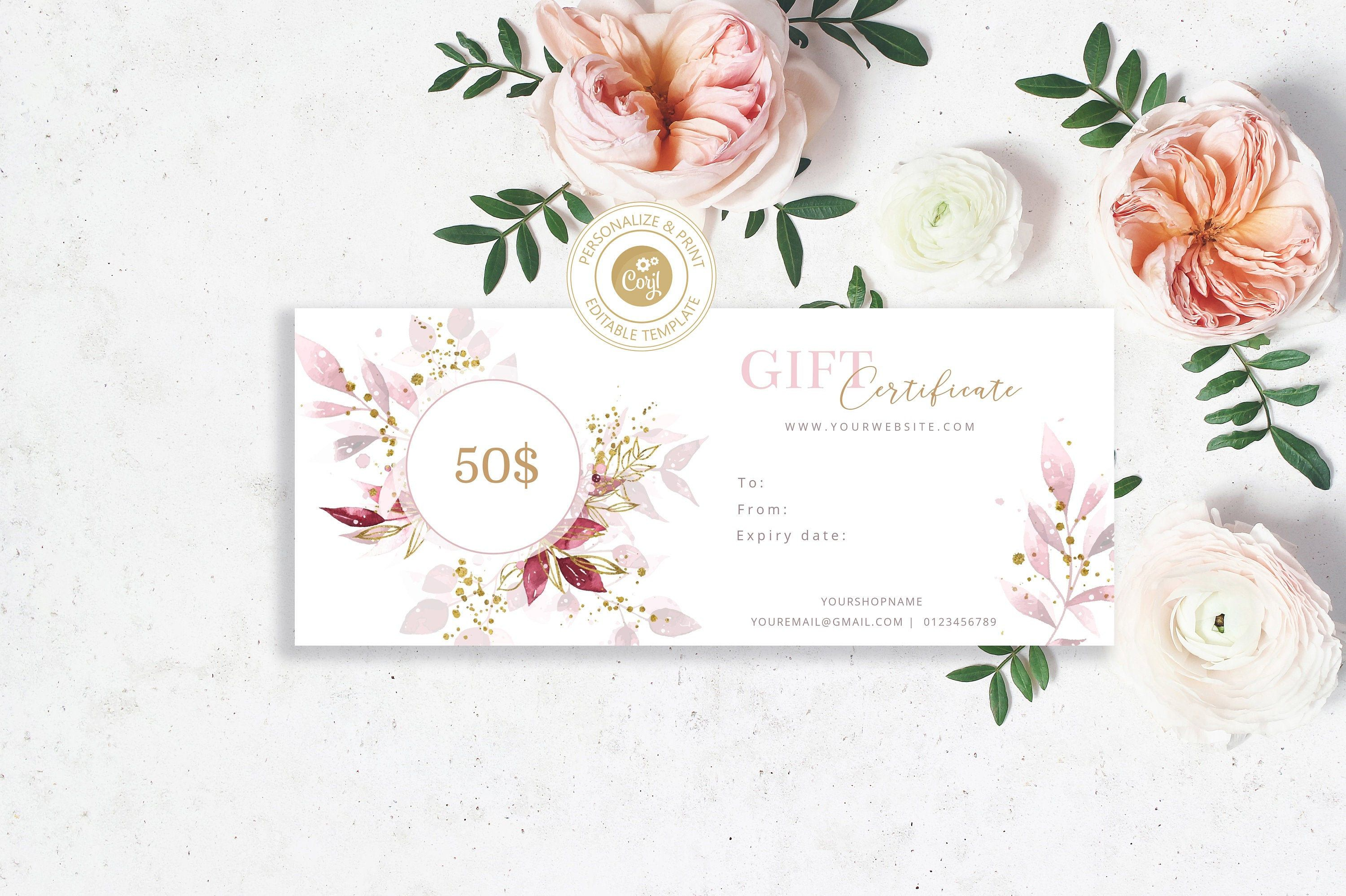 Editable Gift Certificate Template With Pink Watercolor Etsy Printable Gift Cards Gift Certificate Template Certificate Templates