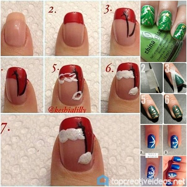 Water Marble Nails Diy Ideas Santa Hat Nails And Santa Hat