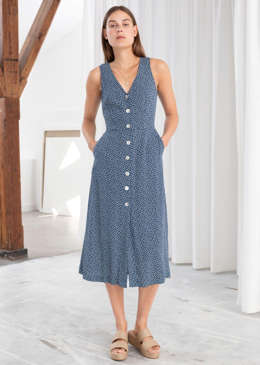 Pdp Blue Floral Midi Dress Midi Dress Dresses [ 1435 x 1025 Pixel ]