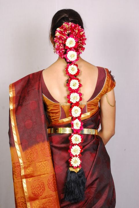 Lovely poola jada. | Indian bride hairstyle, Indian bridal hairstyles, Hair design for wedding