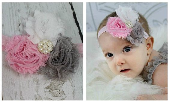 Baby Headband Pink Grey White Shabby Chic by LisaAnnsCreations